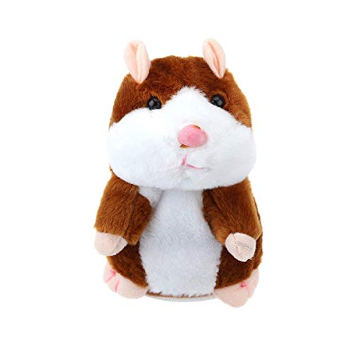 BRIDA® Talking Hamster Toy Mimicry Mouse Plush Toy Nodding Head Electronic Pet Educational Toy for Kids (Brown)