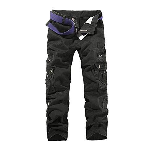 Hommes Pantalon Cargo Pantalon de Travail Style Militaire, Casual Pantalon Multi Poche Cargo Sports De Combat Pantalons en Coton pour Home, Noir, 44 (Tag size 34)