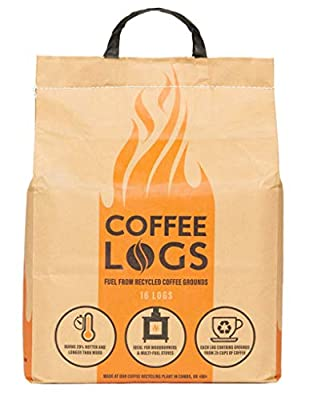 Coffee Logs - 16 WINTER FUEL LOGS MADE FROM RECYCLED COFFEE - FOR A HOTTER & LONGER BURN