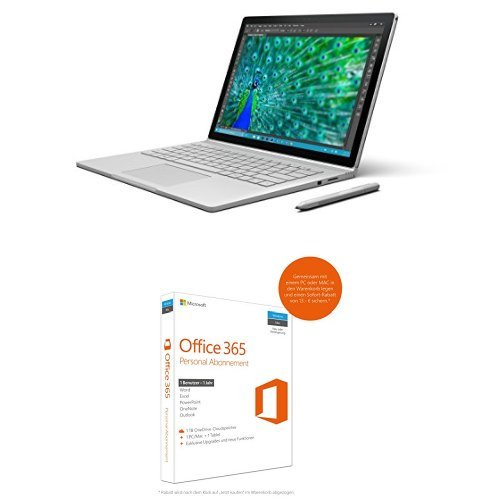 Preisvergleich Produktbild Microsoft CR9-00010 34,29 cm (13,5 Zoll) Surface Book (Intel Core i5 6. Generation, 8GB RAM, 128GB SSD, Intel HD, Win10 Pro) + Microsoft Office 365 Personal - 1 PC/MAC - 1 Jahresabonnement - multilingual (Product Key Card ohne Datenträger)