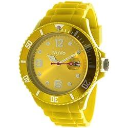 Nuvo - NU13H10 - Unisex Armbanduhr - Quartz - Analog - Gelbes Zifferblatt - Gelbes Armband aus Silikon - Modisch - Elegant - Stylish