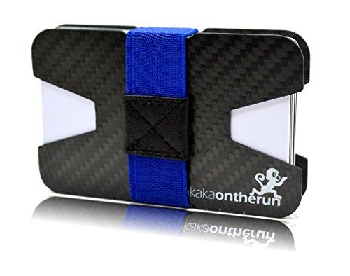 Premium Kartenetui aus stabilem Carbon mit Geldklammer & 4 Bändern – 1 bis 16 Karten – Slim Wallet Portemonnaie (6 Optimiertes Carbon Kartenetui & Visitenkartenetui)