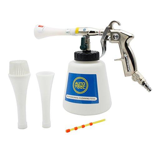 SPEED Automatischer Waschpistole Reinigungspistole Hochdruck Waschpistole Tornado Druckluft mit Schaum für Auto KFZ Einstellbarer Luftdruck (Verchromte Metallgriff+2 X Düse+2 X Schlauch)