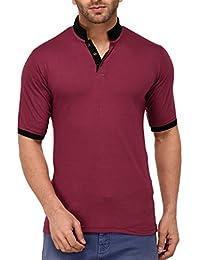 9ZEUS Half Sleeve Slim Fit 100% Cotton Dark Pink With Collar T-Shirt For Men