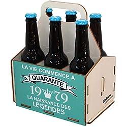Porte-bouteilles de bière en bois, pack de 6 bières, panier de 6, panier pour six bières, anniversaire 40 ans, cadeau d'anniversaire 40 ans, 40ème anniversaire, anniversaire homme 40 ans, 1979