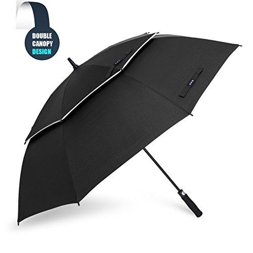 Grand Parapluie Automatique de Golf - Solide Homme Femme Taille 157,5 cm Anti UV Anti Retournement Tempête Vent(Noir)