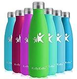 KollyKolla Bottiglia Acqua in Acciaio Inox, 750ml Senza BPA Borraccia Termica, Isolamento Sottovuoto a Doppia Parete, Borracce per Bambini, Scuola, Sport, All'aperto, Palestra, Yoga, Tutto Verde