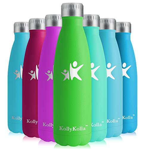 KollyKolla Vakuum Isolierte Edelstahl Trinkflasche, 750ml BPA Frei Wasserflasche Auslaufsicher, Thermosflasche für Kinder, Schule, Mädchen, Sport, Outdoor, Fahrrad, Büro, Fitness (Voll Grün)