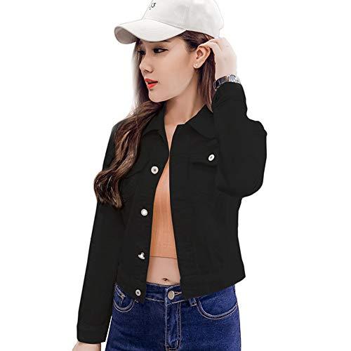 CLZC Womens Coat Denim Jacken Blue Autumn Denim Jacken für Frauen Jeans Einreiher Denim Mäntel Weibliche Feminine Kleidung,Schwarz,L - Frauen Blue Denim