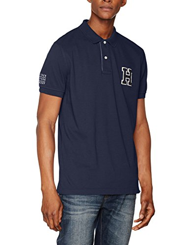 Tommy Hilfiger Herren ES Basic Badge Polo S/S RF Poloshirt,per Pack Blau (Midnight 403),Medium (Tommy Hilfiger Polo-pack)
