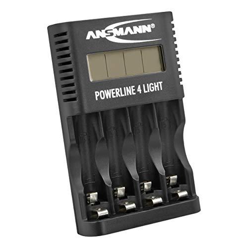 ANSMANN Akku-Ladegerät für 4x AA & AAA NiMH Akkus - Batterieladegerät mit Einzelschachtüberwachung, automatische Abschaltung, Erhaltungsladung, LCD-Display & USB Lader - Powerline 4 Light
