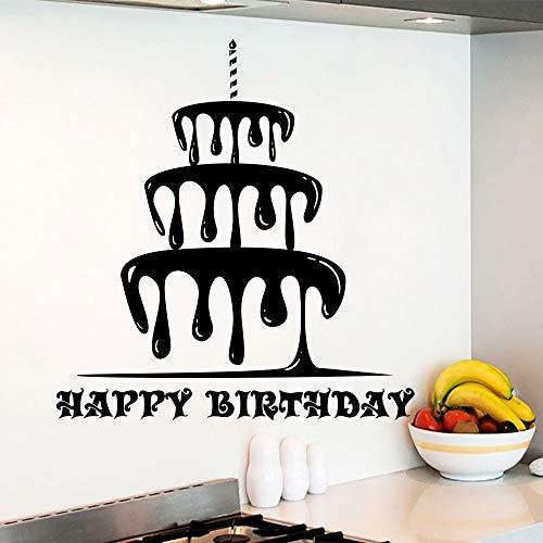WALSTICKEL Wandtattoos Alles Gute Zum Geburtstag Wandtattoo Abnehmbare Kuchen Aufkleber Urlaub Dekor Geburtstag Kuchen Shop Wandkunst Wand Küche Design Kunst Aufkleber, 57X61 Cm (Fee-geburtstagskuchen)