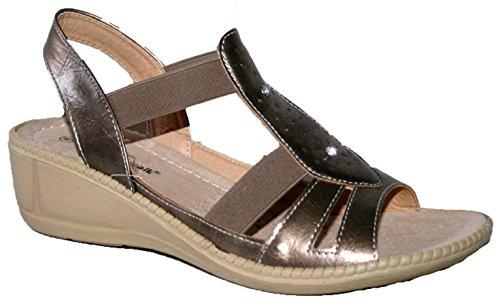 Damen Sommer slip auf Kissen Walk Slingback Sandale mit Ring Trim Bronze 1