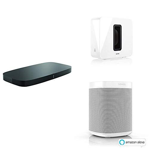 Sonos Playbase WLAN Soundbase, schwarz + Sub, weiß, Leistungsstarker WLAN Subwoofer + Smart Speaker, weiß - Intelligenter WLAN Lautsprecher mit Alexa Sprachsteuerung & AirPlay