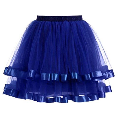 Petticoat Kleid Rock Damen Rockabilly Kleid DAY.LIN Womens hochwertige Plissee Gaze kurzen Rock Erwachsenen Tutu Tanzen Rock (Blau) (Plissee Handtasche Schwarz)