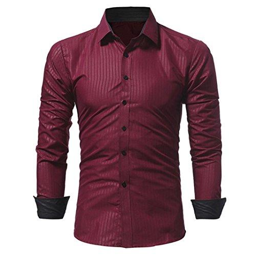 Top Hommes, Toamen Hommes Chemise à Manche longue à Rayures Couleur unie Décontractée Mode Coupe slim (XXL, Vin rouge)