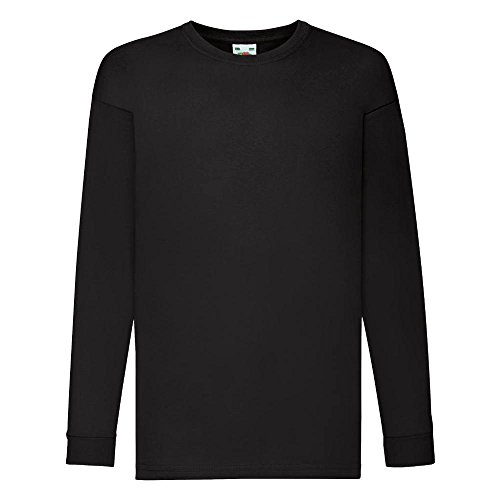 Mädchen Damen Shirt (Fruit of the Loom - Kids Langarm T-Shirt Value Weight T 140,Black)