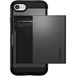 Spigen Coque iPhone 7, [Slim Armor CS] Slim Fit Double Couche de Protection [Gunmetal] avec Fente pour Carte Porte-Monnaie (iPhone7) - 042CS20453