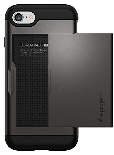 iPhone 8 / 7 Hülle, Spigen® [Slim Armor CS] iPhone 8 Hülle, Kartenfach [Gunmetal] Doppelte Schutzschicht mit Luftpolster-Kantenschutz - Card Holder Case Schutzhülle für Apple iPhone 7 Hülle / iPhone 8 Case Cover - Gunmetal (042CS20453)