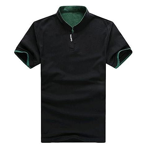 TOOGOO(R) Black Summer Mens Casual Sports Slim Mandarin Collar T-shirt Cotton Short Sleeve Shirt Clothing L