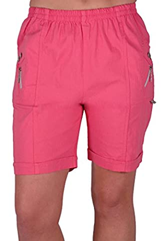 EyeCatch - Womens Relaxed Comfort Elasticized Flexi Stretch Ladies Shorts Plus Sizes Coral Size 18