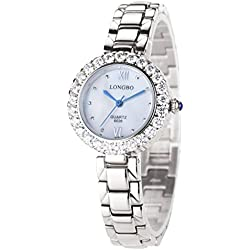 LONGBO Womens Fashion Full Stainless Steel Band Crystal Rhinestone Accented Lady Dress Watch Silver Bracelet Wrist Watches Girl Analog Quartz Blue Hands Watches