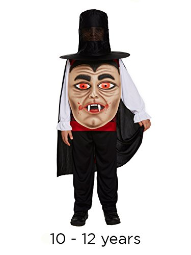 Halloween Vampire Jumbo Face Fancy Dress Child's Costume With Hat, Belt & Cape-10-12 Years