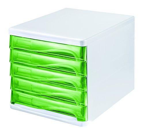 "Helit H6129450 - Schubladenbox\""the wave\"", grün transparent"