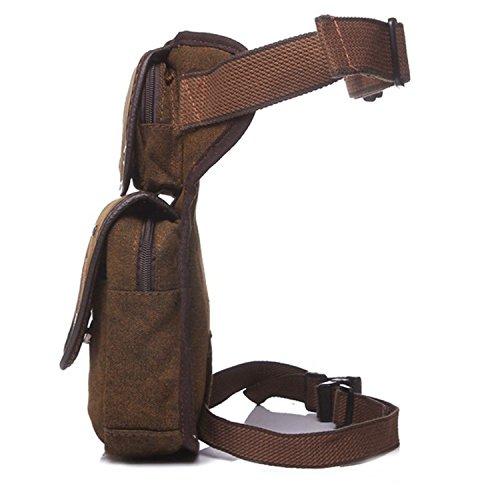 Outreo Sporttasche Gürteltasche Vintage Hüfttaschen Herren Reisetaschen Bauchtasche Trinkgürtel Tasche Canvas Outdoor Sport Bag Geldbeutel Braun