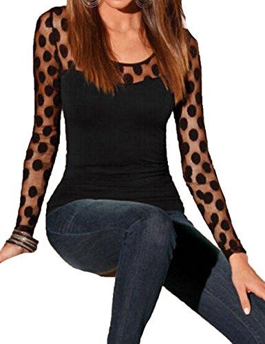 Junshan Femme Tops Elegant T-Shirt Dentelle Couture Col Dos Ruban Croix à Manches Longues T-Shirt Chemisier Noir2
