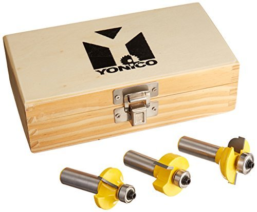 Yonico 12319 3 Bit Glass Door Router Bit Set with Round-Over Bead 1/2-Inch Shank by Yonico -
