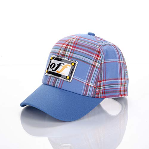 JKLGNN Kinder Gitter Baseball Cap Off Brief einfarbig Mädchen Baumwolle Sonnencreme Kinder Sonnenhut Outdoor Sports Hats Travel Casual Unisex Light Weight Einstellbare Größe,Blue