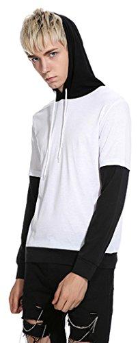 Whatlees Herren Urban Basic reguläre Passform T-shirt mit Kapuzer B677-White