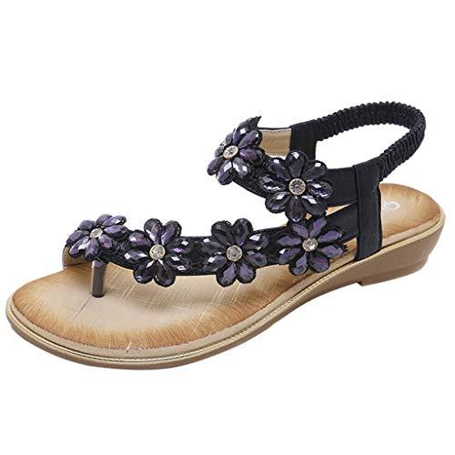 SuperSU-sandalen Damen Sommer ►▷Frauen Bohemia Blume Strass Design Flip Flop Zehentrenner Sandalen,Lässiges Bequeme Wild Pantoletten |Römersandalen |Plateauschuhe |Strandschuhe -