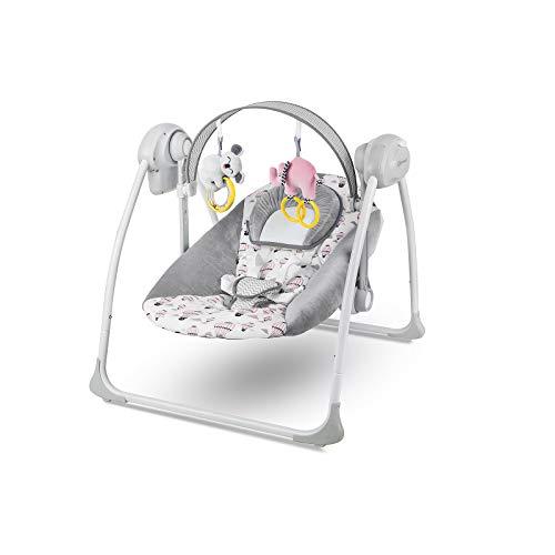 Kinderkraft KKBFLOPINK0000 Babywippe Babyschaukel mit Spielbogen und Melodien, rosa