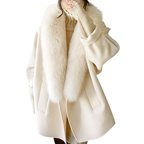 Tianwlio Mäntel Herbst Winter Damen Jacken Parka Warme Jacken Strickjacken Wollmäntel Kragen Plus Größe Warme Lose Wollmantel Beige L