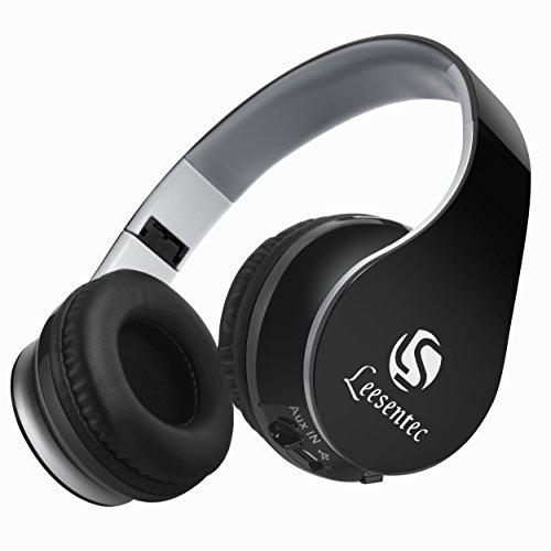 Leesentec T1 Drahtloser Bluetooth Kopfhörer, Faltbares Over-Ear Bügelkopfhörer und bis zu 20 Stunden Batterielaufzeit für Sport wie Laufen, Freizeit und unterwegs. (schwarz)