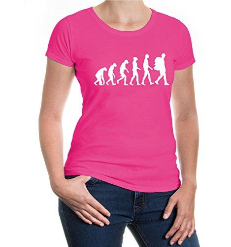 buXsbaum® GirlieT-Shirt The Evolution of Backpacking Fuchsia-White