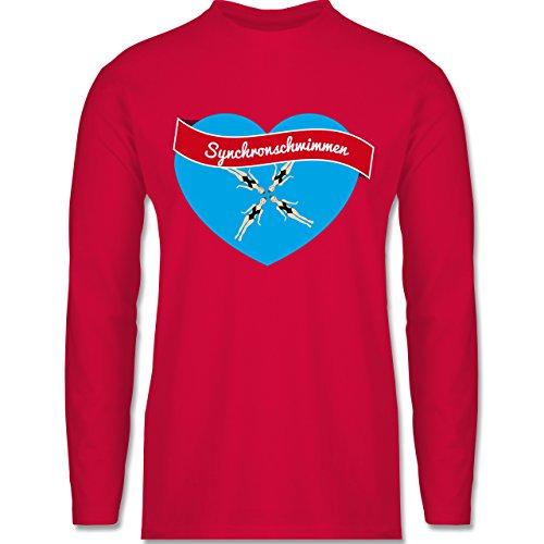 Wassersport - Synchronschwimmen - Longsleeve / langärmeliges T-Shirt für Herren Rot