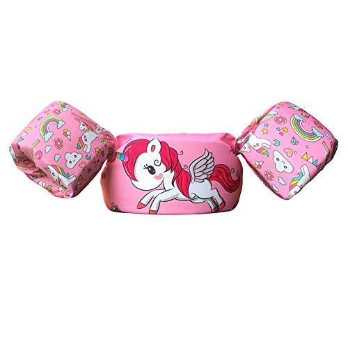 Bili Schwimmflügel für Kinder Schwimmhilfe für Kleinkinder von 2-6 Jahre, 15-30kg Kinderschwimmweste für Jungen und Mädchen (Pink - Einhorn)