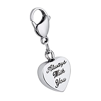K-Y Engraved Always with you Heart Cremation Urn Thomas Style Pendant Stainless Steel Lobster Clasp Memorial Ash… 14