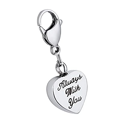 K-Y Engraved Always with you Heart Cremation Urn Thomas Style Pendant Stainless Steel Lobster Clasp Memorial Ash… 1