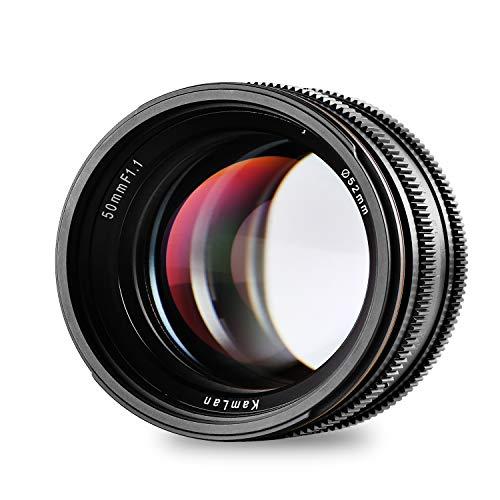 Objectif Kamlan 50 mm / F1.1 APS-C à focale fixe et à grande ouverture, objectif principal...