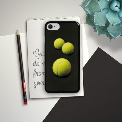 Apple iPhone 6 Silikon Hülle Case Schutzhülle Tennis Bälle Sport Hard Case schwarz