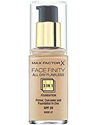 Max Factor Facefinity All day Flawless 3-in-1 Foundation Nude 47, 1er Pack (1 x 30 ml)