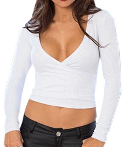 Damen Crop T-Shirt Mode Reizvolle V-Neck Oberseiten Langarm Vest Einfarbig Hemden Slim Tops Blusen Weiß