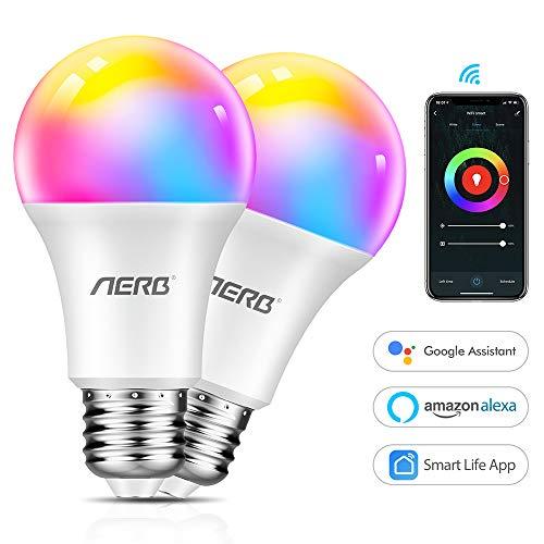 aerb lampadina smart wifi e27,lampadina wi-fi intelligente led 9w 1000lm multicolore dimmerabile 2700k-6500k+rgb+cct equivalente 60w bulbo compatibile con alexa/google assistant e ifttt 2 pezzi