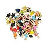 Vosarea Mini Pinzas de Madera Naturales para Fotos en Forma de Estrella Mini Clips Madera para Colgar Fotos Pintura Artesanía Decoración del Hogar 50 Piezas (Color Surtido)