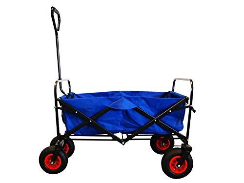 MAXOfit Faltbarer Bollerwagen mit Luftreifen, Schutzhülle und Bremse | 360° Räder | Handwagen Platzsparend klappbar | bis 70kg, Blau