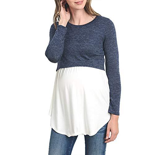 Zhhlaixing Stillzeit Tops Maternity Shirt Gemütlich Baumwolle Umstandsmode für Damen - Schwangerschafts Casual Zweilagiges Sweatshirt Langarmshirt